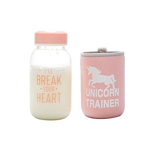 ShopSquare64 IPRee 600ml Botella de Agua de Vidrio Unicornio Patrã³n Drinkware Transparente con Cubierta de Protecciã³n...