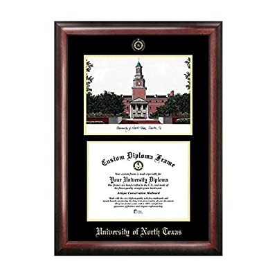 Campus Images Sports Team Logo Design University of North Texas Gold Embossed Diploma Frame with Campus Images Lithograph