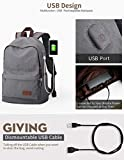 Upoalker Canvas Backpack with USB Charging Port for School Bookbag Travel Rucksack for Fits up to 15.6 inch Laptop Bag