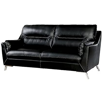 Pleasing Amazon Com Furniture Of America Dubas Faux Leather Sofa In Caraccident5 Cool Chair Designs And Ideas Caraccident5Info