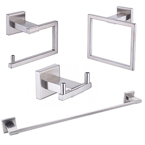 KES SUS 304 Stainless Steel 4-Piece Bathroom Accessory Set RUSTPROOF Including Towel Bar Toilet Paper Holder Towel Ring Double Robe Hook Wall Mount Contemporary Square Style, Brushed Finish, LA242-42 (Holder Paper Square Toilet Set)