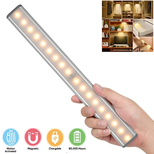 Under Cabinet Lighting,Closet Lights Motion Sensor USB Rechargeable Wireless Under Cabinet Lights Kitchen Cabinet Lights Closet Lighting 18 LEDs Magnetic Stick On Lights for Drawer Cupboard,Warm White