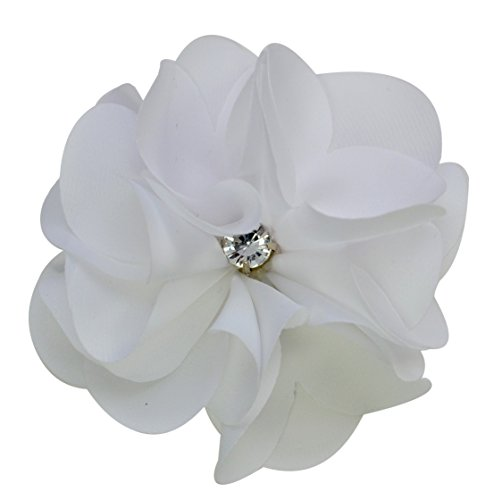 Ruby Satin Flower Hair Clip By Funny Girl Designs (White)