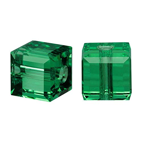 50 8mm Adabele Austrian Cube Crystal Beads Emerald Green Compatible with Swarovski Crystals Preciosa 5601 - 8mm 50 Glass Beads Pearl