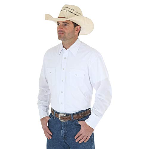 - Wrangler Men's Sport Western Long Sleeve Shirt,White,X-Large