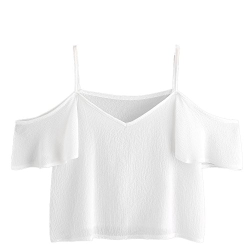 Chiffon Women Shirts Short Sleeve Casual Off Shoulder Strap Tunic T-Shirt Blouse Tops for Teen Girls