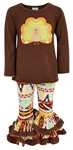 Unique Baby Girls 2 Piece Turkey Fall Colors Thanksgiving Legging Set (6) Brown -