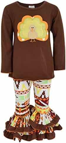 fcb208a60473 Unique Baby Girls 2 Piece Turkey Fall Colors Aztecan Thanksgiving Legging  Set