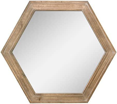 Stonebriar Decorative 24 Hexagon Hanging Wall Mirror With Natural Wood Frame And Attached Hanging Bracket Rustic Farmhouse Decor For The Living Room Bathroom Bedroom And Entryway Home Kitchen