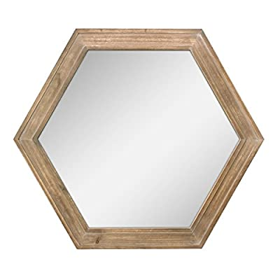 "Stonebriar Decorative 24"" Hexagon Hanging Wall Mirror with Natural Wood Frame and Attached Hanging Bracket, Rustic Farmhouse Decor for the Living Room, Bathroom, Bedroom, and Entryway - Mounting Type: Sawtooth - mirrors-bedroom-decor, bedroom-decor, bedroom - 41ZnMKBLScL. SS400  -"