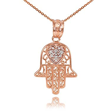 Fine 14k Rose Gold Diamond-Accented Heart Filigree-Style Hamsa Pendant Necklace, 22