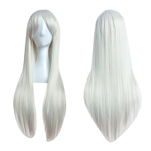 (Inkach Women Long Straight Wig Cosplay Party Costume Hair Full Wig 80cm (Silver))