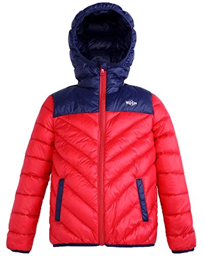 159112cf2664 Wantdo Boys Girls Lightweight Packable Hooded Down Coat Windproof ...
