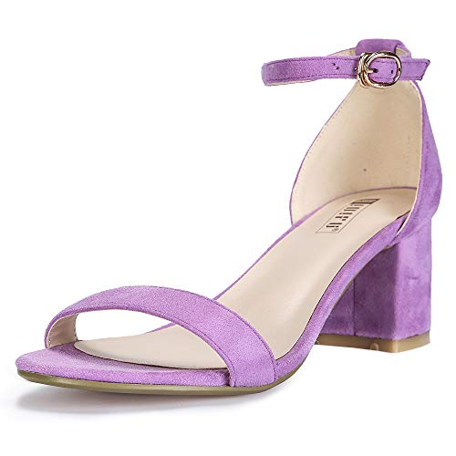 (IDIFU Women's IN2 Cookie-LO Low Heel Ankle Strap Dress Pump Sandal (Lavender Suede, 7.5 B(M) US))