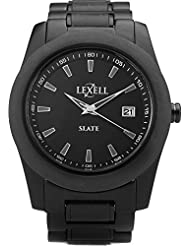 Lexell Genuine Slate Stone Watch Infinity With Black Stainless Steel Band