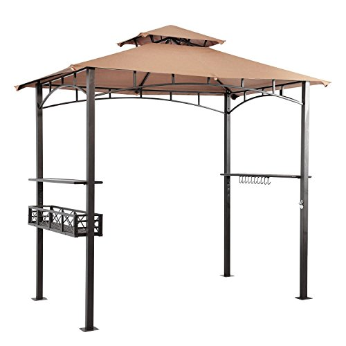 LCH 8 x 5 ft Grill Gazebo Patio BBQ Shelter, Outdoor Barbecue Double Tier Soft Top Canopy, Beige