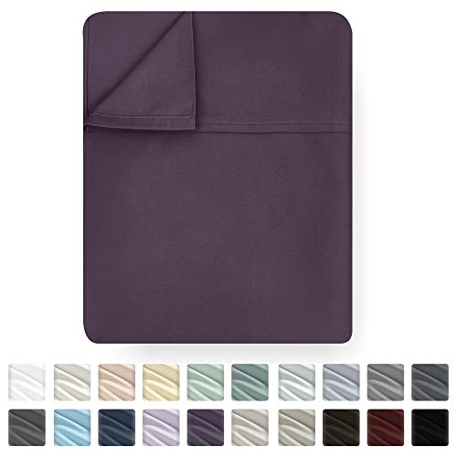 California Design Den True Luxury Royal Purple Color Queen Size Flat Sheet Only - Premium Quality 400 Thread Count 100% Cotton Sateen Weave Bedding Cool Flat Sheet - Soft, Lightweight and Breathable