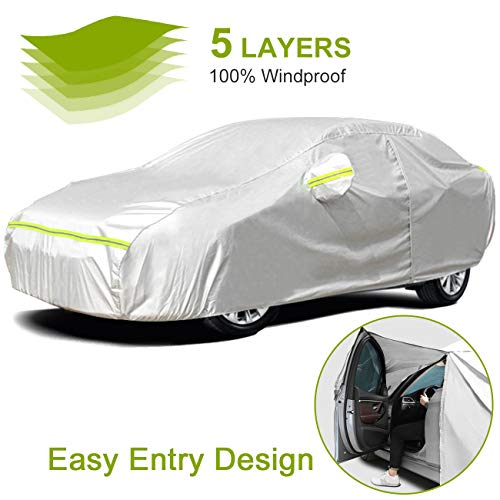 Favoto Car Cover Sedan Cover Universal Fit 177-194 Inch 5 Layer Heavy Duty Outdoor Waterproof All Weather Dustproof Snowproof Windproof Scratch Resistant with Storage Bag Vehicle Cover