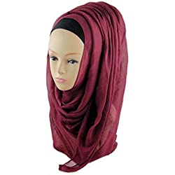 Clearance Muslim Ramadan Pure Color Shawl Scarf Head Cover Headscarf Muffler for Women/Ladies/Girls (180cm90cm, Wine)