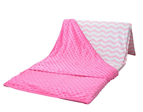 Nap Mat Carriers Chevron Nap Mat Cover with attached blanket for kinder/rest mat 1 46 x 19in (Pink)