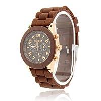 ZPS Unisex Geneva Silicone Jelly Gel Quartz Analog Sports Wrist Watch Hot Sale (Brown)
