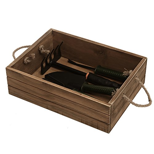 Rustic Style Wood Storage Crate, Open Top Organizer Bin with Rope Handles, Brown by MyGift (Image #2)