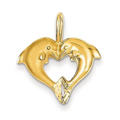 Dauphin 14 Carats Pendentif en forme de cœur-Dimensions: 22,5 x 19,9 mm-JewelryWeb