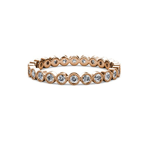 TriJewels Round Lab Grown Diamond Bezel Set Milgrain Womens Eternity Ring Stackable 0.51 ctw to 0.60 ctw 14K Rose Gold.size 7.0