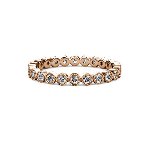 Diamond Bezel Set Eternity Band (TriJewels Round Lab Grown Diamond Bezel Set Milgrain Womens Eternity Ring Stackable 0.51 ctw to 0.60 ctw 14K Rose Gold.size 7.0)