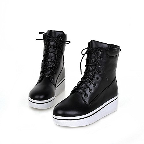 A&N Girls Solid Low Heels Casual Imitated Leather Boots Black 0DBN7gsXd