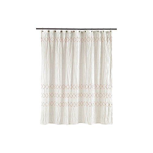 Threshold Smocked Zig Zag Shower Curtain, WHITE, 72
