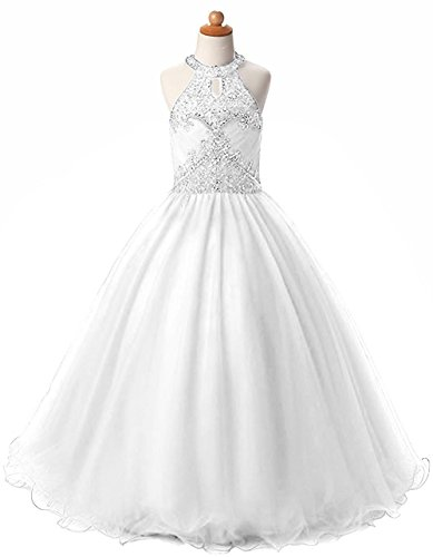 HEIMO Long Beading Ball Gown Formal Party Dress Flower Girl Halter Sequins Pageant Dresses H193 6 White by HEIMO