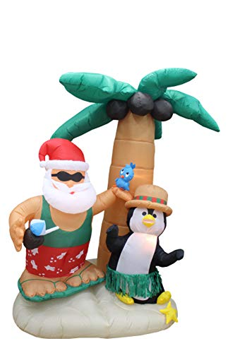 7 Foot Inflatable Santa Claus & Penguin on an Island w/ Palm Tree by BZB Goods (Image #1)