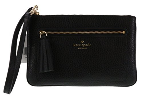 Kate Spade New York Chester Street Tinie Pebbled Leather Wristlet Handbag (Black) - Black Pebbled