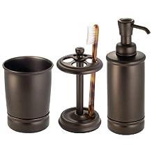 InterDesign York Bath Accessory Set, Soap Dispenser Pump, Toothbrush Holder, Tumbler - 3 Pieces, Bronze
