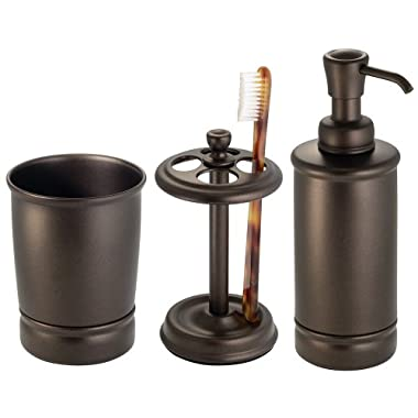 InterDesign York Bath Accessory Set, Soap Dispenser Pump, Toothbrush Holder, Tumbler - 3 Pieces, Bronze