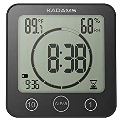 KADAMS Digital Bathroom Shower Kitchen Wall Clock Timer with Alarm, Waterproof for Water Spray, Touch Screen Timer, Temperature Humidity, Suction Cup Hanging Hole Stand (Black)