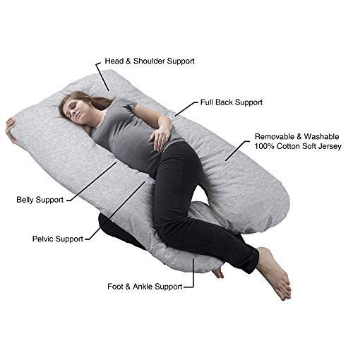Lavish Home Pregnancy Pillow- Full Body Maternity Pillow with Removable Cover and Contoured U-Shape Design for Back/Body Support Collection (Gray) by Lavish Home (Image #2)