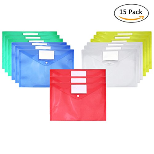 (Clear Document Folder A4 Size with Snap Button and Tag Pocket,15 Pcs, Assorted Color,Blue Red Green Yellow White Waterproof Transparent File Envelope)
