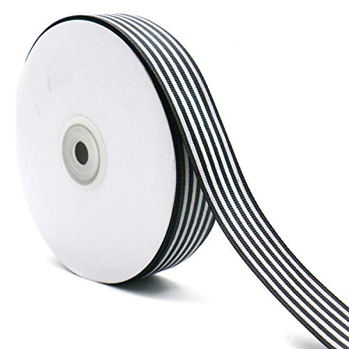 WEFOO 1 Inch by 50Yard /Spool Black and White Striped Grosgrain Ribbon/Gift Wrap Ribbon for DIY Crafts and Gift Wrapping