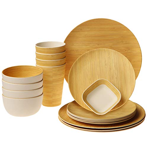 Earth's Dreams Reusable Bamboo Dinnerware Set - Serves 4 with Organic Bamboo Fiber Plates, Cups, Bowls and Bonus Square Saucer (17 Pieces) (Best Camping Plates And Bowls)