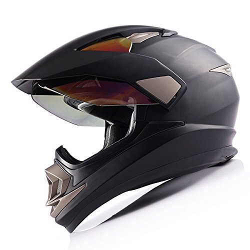 Dual Sport Helmet Motorcycle Full Face Motocross Off Road Bike Matt Black by 1Storm (Image #3)
