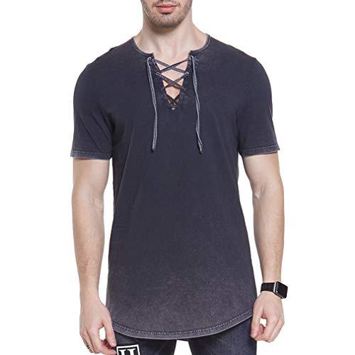 Men Medieval Pirate Tee Shirt Viking Renaissance Lace up Halloween MercenaryScottish Jacobite Ghillie Tops
