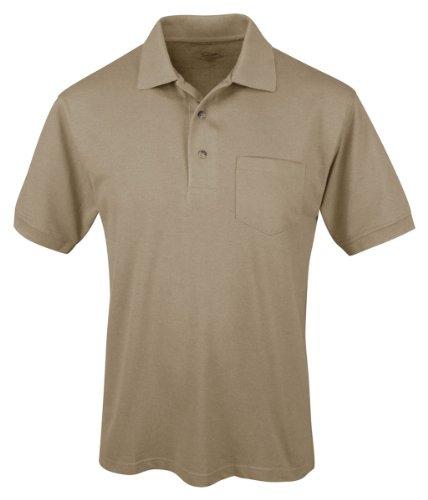 Tri-Mountain Men 3-Button Placket Short Sleeve Easy Care Pique Pocket Golf Shirt