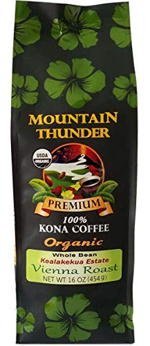 100% Organic Kona Coffee - Vienna Roast, Whole Bean, Kealakekua Estate, 1 Pound - Mountain Thunder Coffee Plantation
