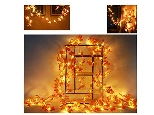 Maple Harvest Deco, Fall Decorations,Fall Garland,Fall Wreath,Thanksgiving Decorations,Christmas Decor Lighted Fall Garland | 30 lights/10 feet, 40 lights/13 feet,80 lights/32/feet (30LED 10FEET)]()