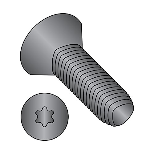 Steel Thread Rolling Screw for Metal, Black Oxide Finish, 82 Degree Flat Head, Star Drive, #4-40 Thread Size, 5/16'' Length (Pack of 100) by Small Parts