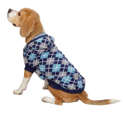 East Side Collection Acrylic Hooded Argyle Dog Sweater, XX-Small, 8-Inch, Navy (Side Collection Clothes Dog East)