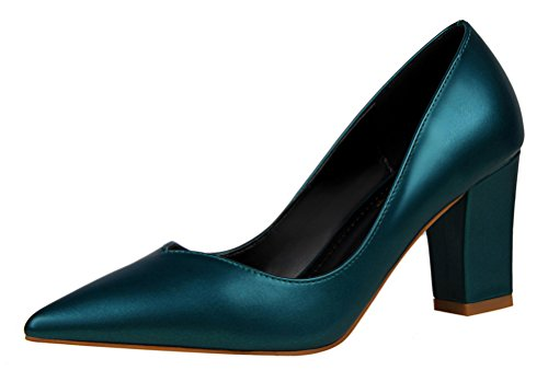 Passionow Women's Graceful Pointed Toe V Cut Slip On High Block Heel Plain Patent Leather Pumps (6 B(M) US,Green)