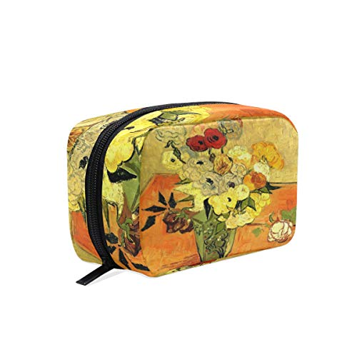 Van Gogh Art Japanese Vase with Roses and Anemones Women Travel Makeup Bag Portable Cosmetic Train Toiletry Case Storage Beauty Organizer